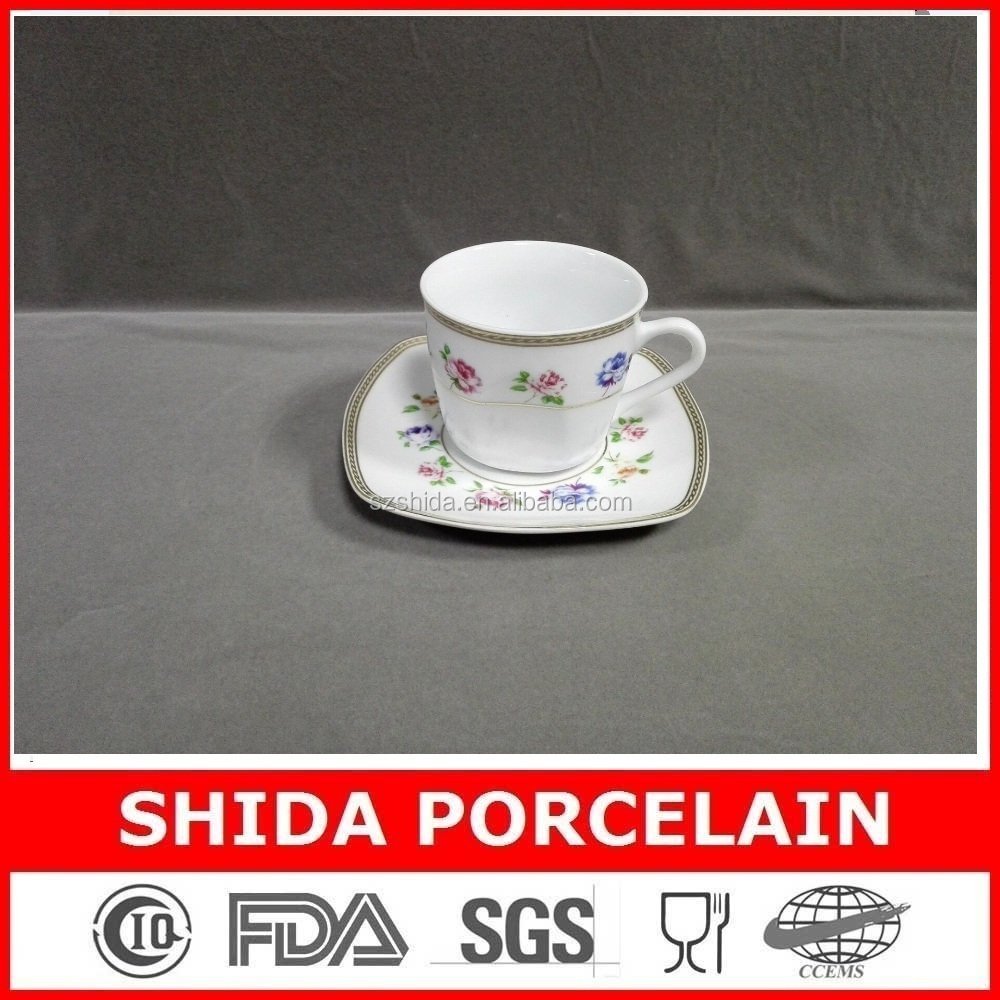 porcelain 180cc 12pcs cup and saucer in super white