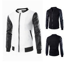 Men's Velvet Motocross A/C Jacket With Leather Sleeves China Factory