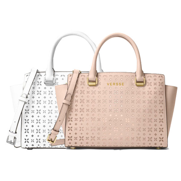Guangzhou label Saffiano leather Medium Perforated Leather Messenger