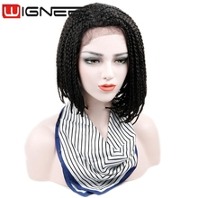 Synthetic Lace Front Crochet Box Braid Hair Bob Wig 14 Inch Natural Black Afro Wigs For Black Women