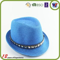 Colourful Wholesale Fedora Men Straw Hats Paper straw cowboy hat