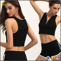 Ecoach high quality tops for women 2016 summer casual sleeveless plain 100%cotton Black Zipper ladies cotton tops designs