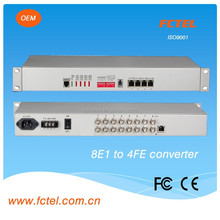 Industrial Ethernet Extender 8E1(75bnc/120ohm)+console+4*100/1000M ethernet converter,over e1 transmitter receiver