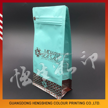 Top quality customized gravure printing square bottom reusable coffee bag with zip