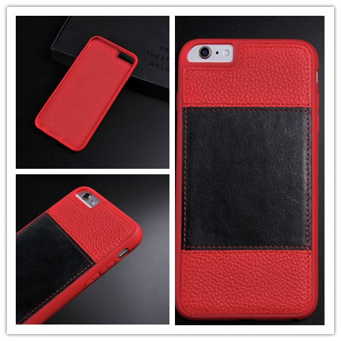 newest good quality two sorts red+black leather mobile phone case for iphone6/6s