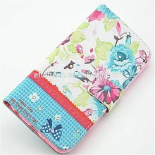Cheap mobile phone cases flower PU leather wallet flip mobile phone case for iphone 5 5s SE