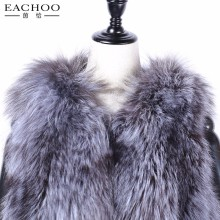 Factory direct supply handmade real sliver fox fur long fur vest