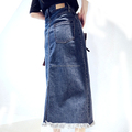 Wholesale winter casual sexy ladies long denim skirt