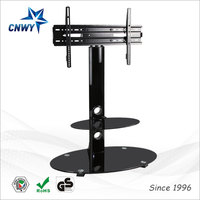 new design clear acrylic led tv stand model with two-tier bookshelf