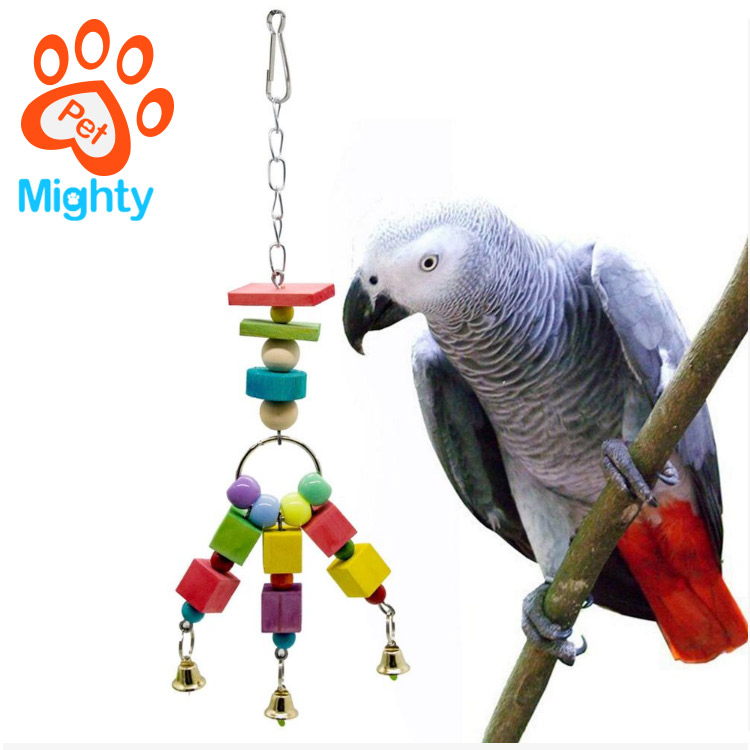 Color Wood Block Pull String Small And Medium Flying Parrot Bird Toy