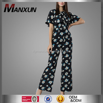 High Quality Jumpsuits for Women 2016 Printting Chiffon Women Jumpsuits Elastic Waist Casual Pants Female