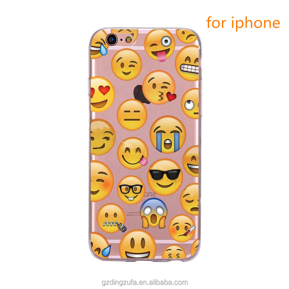 Wholesale Cheap Soft Clear TPU Funny Classic Emoji Mobile Phone Case for iphone se/5/5s 6/6s 6plus/6s plus