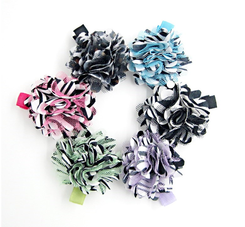 Zebra print fashion Tulle Puff Chiffon Flowers Glued On Hair Clips Baby Girls Top Petti Skirt Hair Flowers Clips Accessories