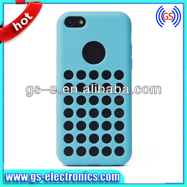 Soft TPU back case for iPhone5C round dot hole back case colors can mix