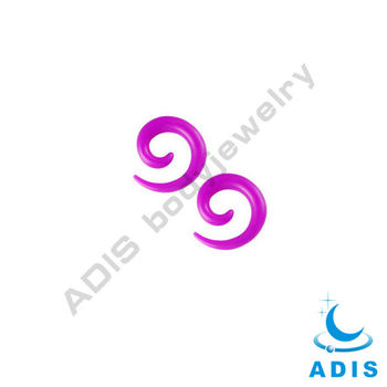 UV acrylic resin ear gauge spirals in fuchsia color