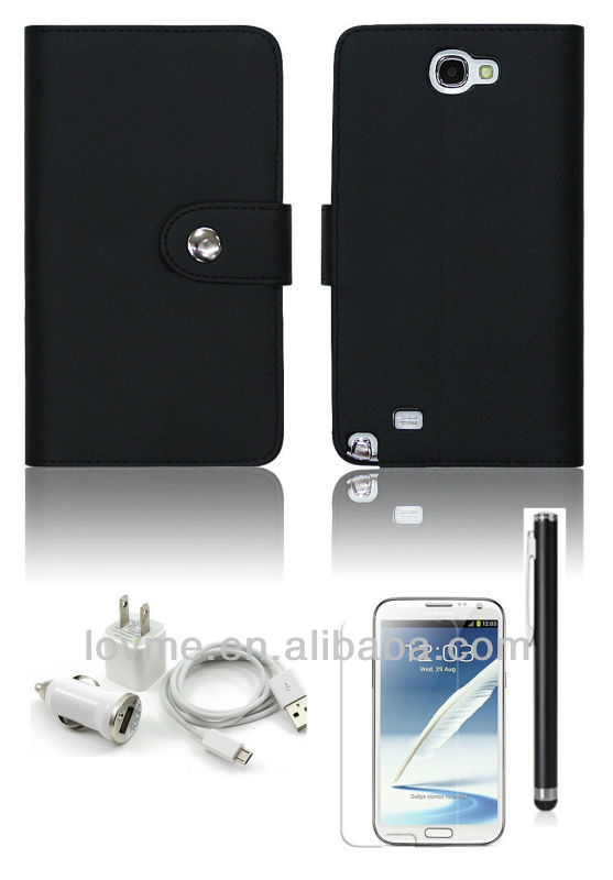 BLACK WALLET LEATHER ID CASE FOR SAMSUNG GALAXY NOTE 2 II N7100