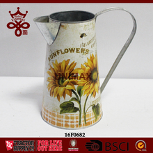 Sun Flowers Printing Galvanized Water Jug Metal Tin Flower Planter Pot Delicate Ornaments Home Decorative