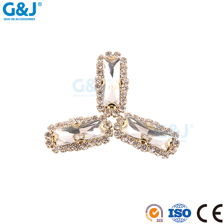 guojie brand Wholesale shoes Accessories clear rectangle clawed stone crystal rhinestone