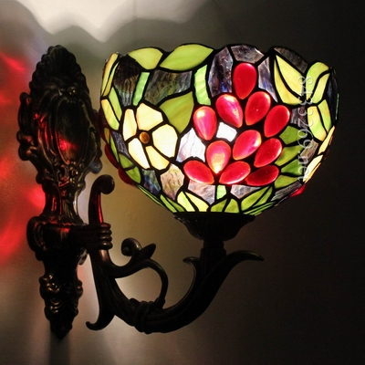 8 inch unique tiffany wall lamp with special fruit design on the stained glass by handmade