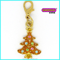 Christmas tree colorful rhinestone gold custom made charms wholesale #1118