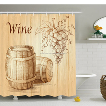 Wine Shower Curtain Barrels Bunch of Grapes Print for Bathroom 70 Inches Long