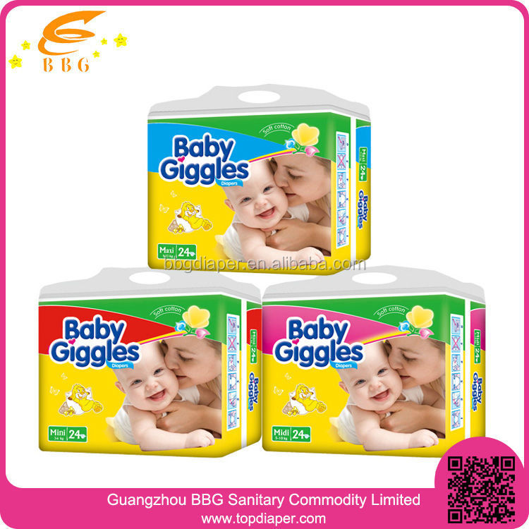 New Brand BABY GIGGLES Disposable Baby Nappies Export to Africa