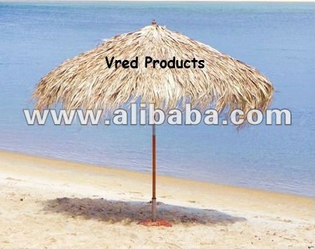 TROPICAL NATURAL PALM LEAF THATCHED BAMBOO RIBS PLUS BAMBOO / WOODEN POLE UMBRELLA