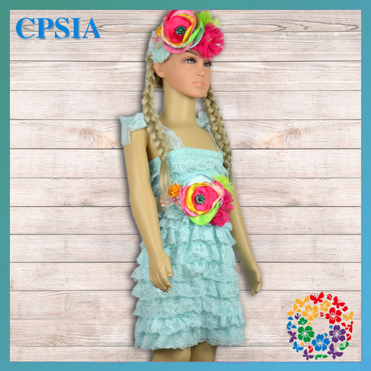 Aqua Ruffled dress asah necklace hedband outfits set Lace Dresses 10 years old girls