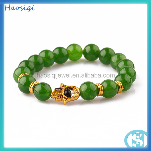 Hamsa bracelet gold plam green jade bead bracelet for men