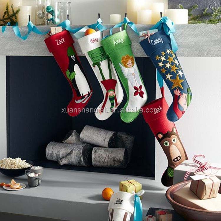 Promotional Good print Felt stocking Christmas Sock from China supplier