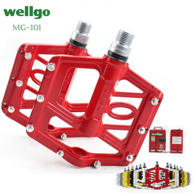 Wellgo MG-<strong>101</strong> Multicolor Magnesium Light Pedal Wide Tread Repalceable Pin Mountain Bike Bicycle Pedal