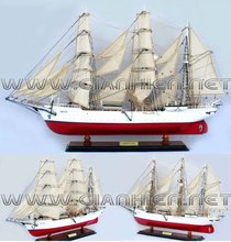 GORCH FOCK I PAINTED WOODEN MODEL SHIP - TALL SHIP MODEL