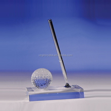 Wholesale Hot Sale Crystal Clear Golf Ball Pen Holder with Clear base for Company Office Decoration
