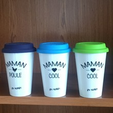 Plastic high quality Coffee Cup with silicon lid