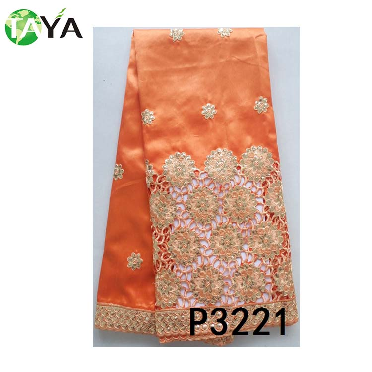 popular orange costume accessory embroidery Indian George Lace Fabric