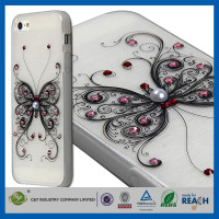 C&T Butterfly Glitter Bling Crystal Rhinestone Diamonds Burshed cell phone case cover for iphone 5