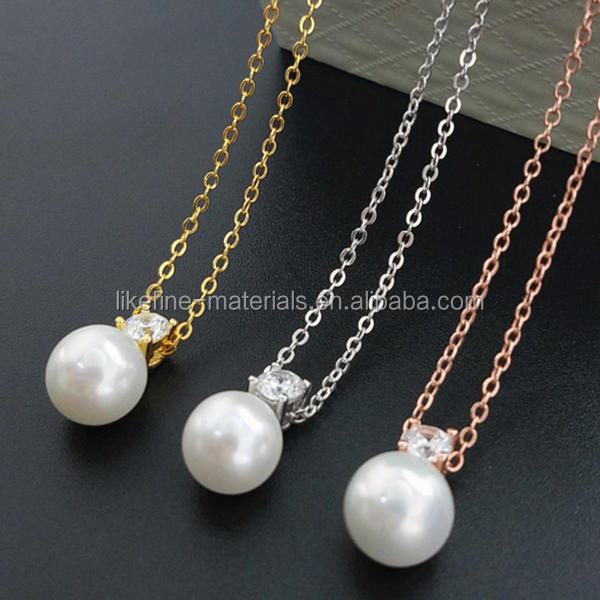 Cheap price 925 silver chain shell pearl pendant necklace