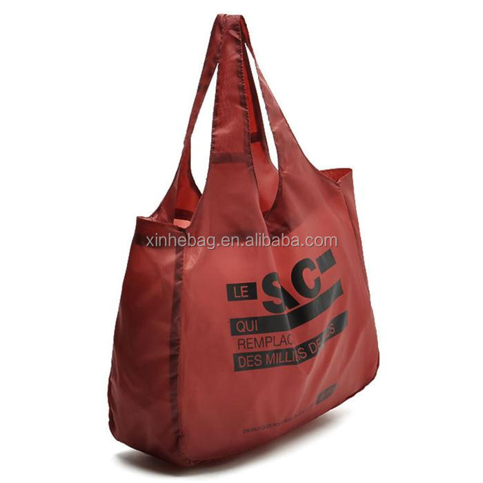 foldable spring roll polyester vest shopping tote bag with jointed handles