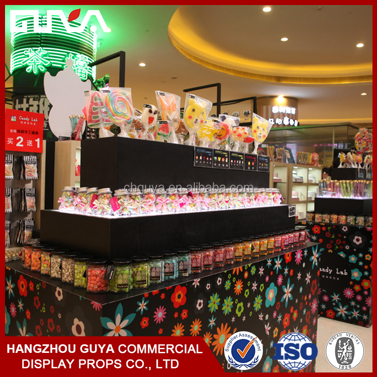Acrylic wooden candy display case for shop