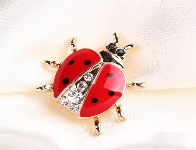 Fashionable Animal Brooches Rhinestone Ladybug Brooch For Women Jewelry