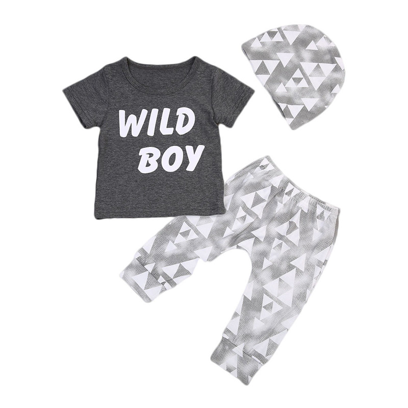 Summer 2017 Newborn Baby Boys Clothes Letter Printed Tops T-shirt +Geometric Pants Leggings Outfits Clothes
