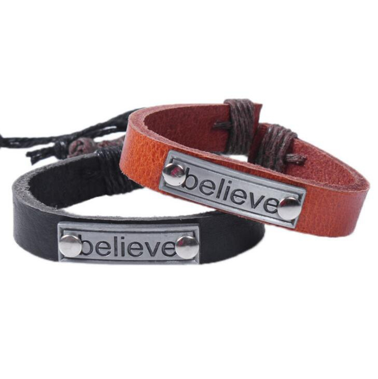 Punk Design BELIEVE Bracelets For Men New Fashion Wristband Female Leather Bracelet Rope Vintage Jewelry