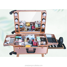 Custom aluminum cosmetic trolley case for nail beauty pink makeup case with light.