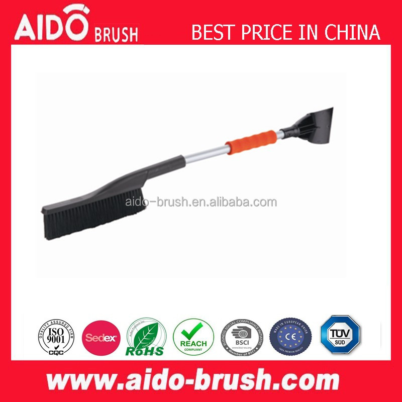 AD-0464 Short Strong Handle ice scraper heavy-duty soft bristle snow brush with soft grip