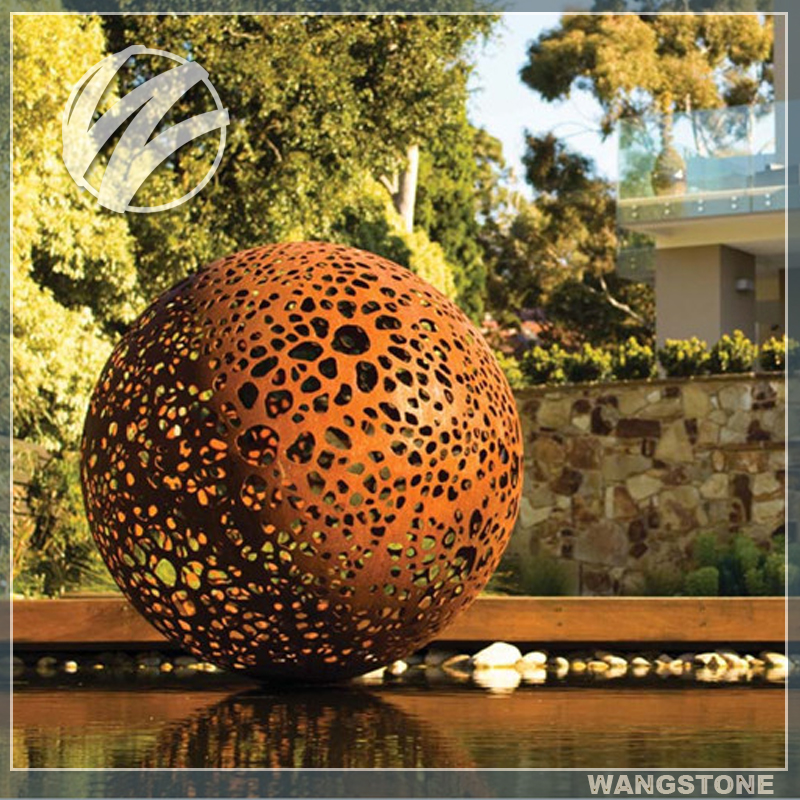 Art jardin corten acier sculpture d corative en m tal for Boule metal deco jardin