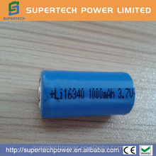 Li-ion 16340 1000mAh 3.7V smallest rechargeable battery