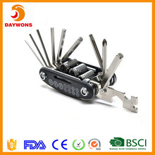Multi-function bike repair tools 16 in 1 combined portable repair tool for bicycle