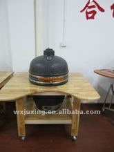 Factory direct bbq ceramic charcoal grill with wooden table