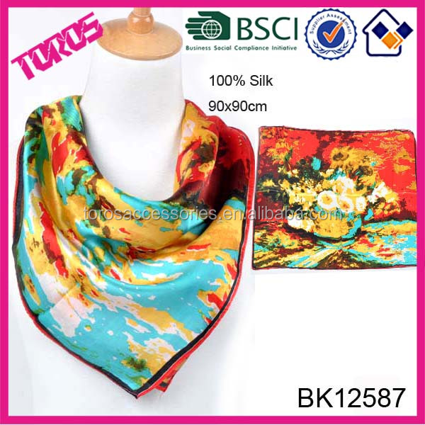HIGH QUALITY LADY FASHION SQUARE FLORAL PRINTED JAPANESE SILK SCARF