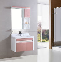 made in china building materials Hanging Red PVC Bathroom Vanity With Side Cabinet B-8210 for cheap bathroom vanity